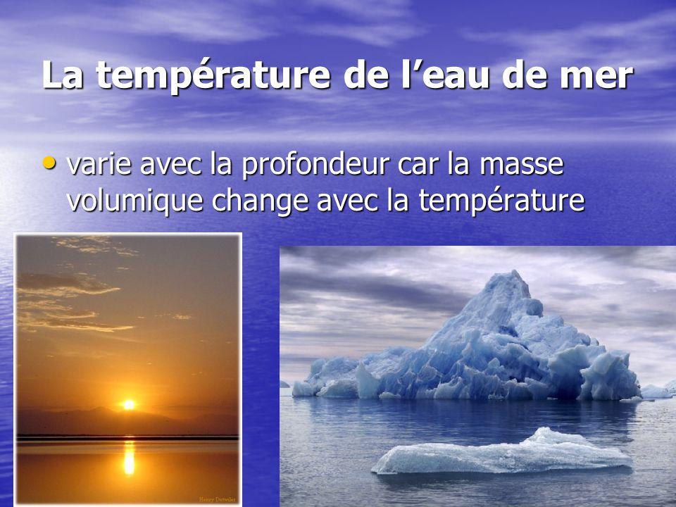 La température de leau de mer varie avec la profondeur car la masse volumique change avec la température varie avec la profondeur car la masse volumiq