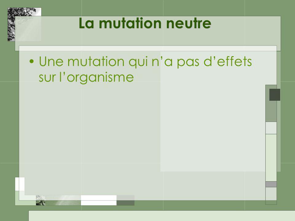 La mutation neutre Une mutation qui na pas deffets sur lorganisme