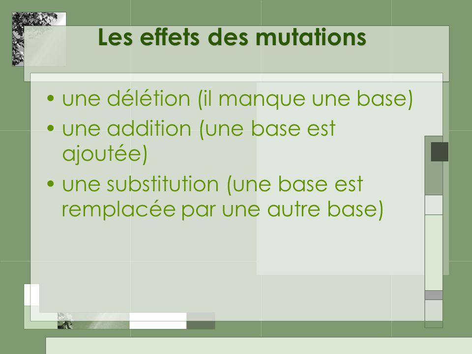 Les effets des mutations une délétion (il manque une base) une addition (une base est ajoutée) une substitution (une base est remplacée par une autre base)