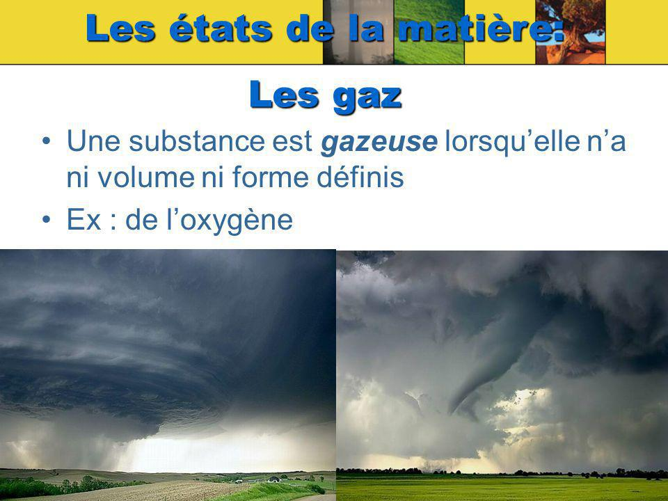 Une substance est gazeuse lorsquelle na ni volume ni forme définis Ex : de loxygène Les états de la matière: Les gaz