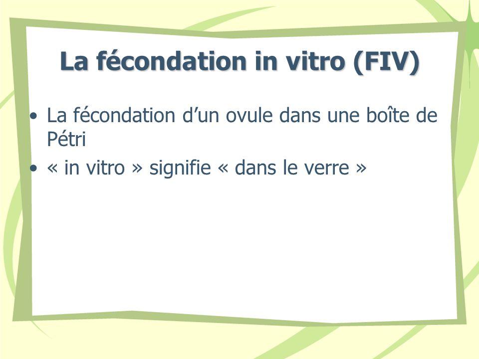 La fécondation in vitro (FIV) La fécondation dun ovule dans une boîte de Pétri « in vitro » signifie « dans le verre »