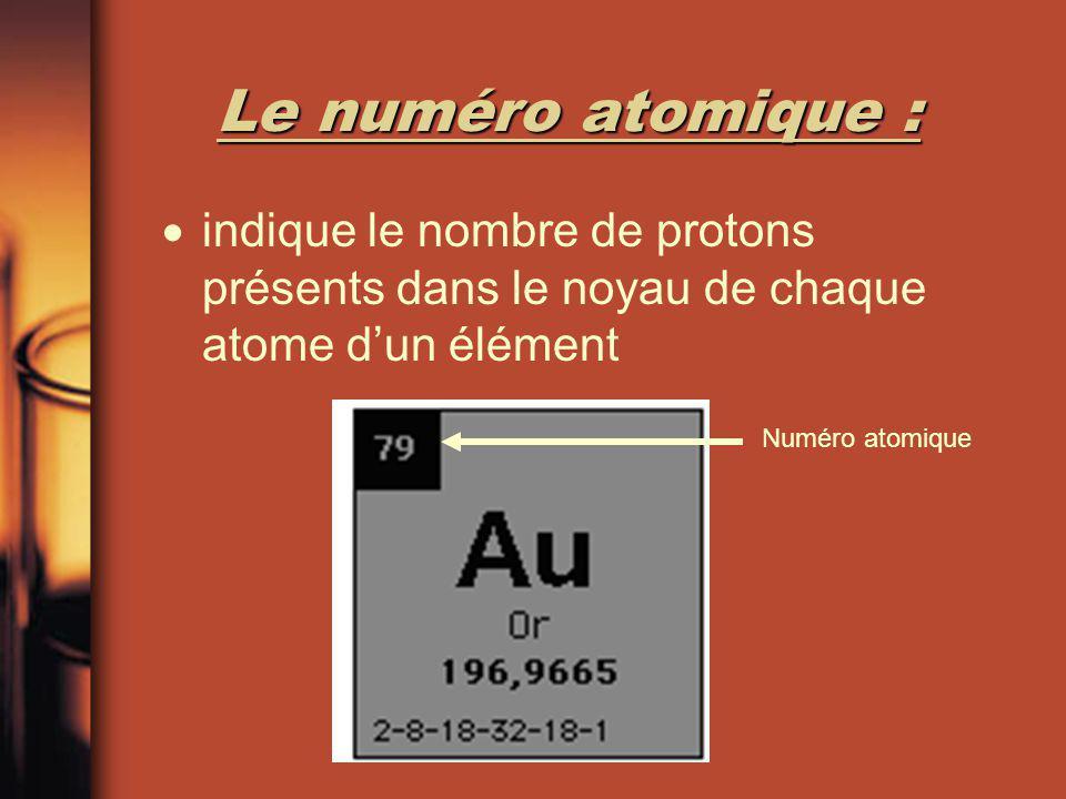 La masse atomique : la masse moyenne des atomes dun élément toujours indiquée par un nombre décimal et est mesurée en unité de masse atomique (uma) La masse atomique