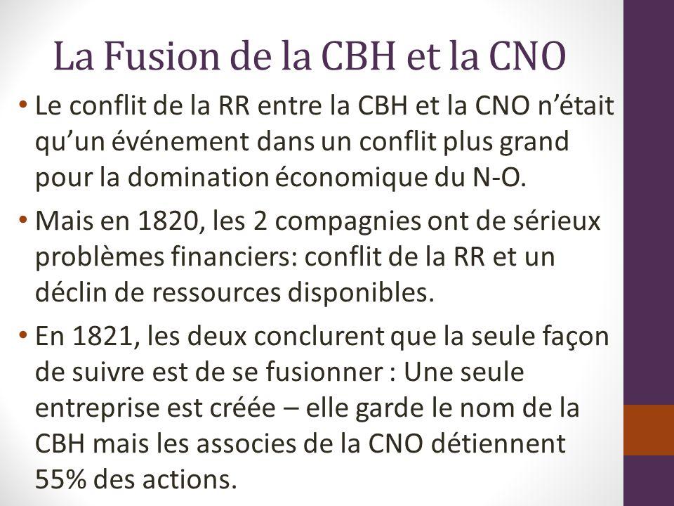 La Fusion de la CBH et la CNO Le conflit de la RR entre la CBH et la CNO nétait quun événement dans un conflit plus grand pour la domination économique du N-O.