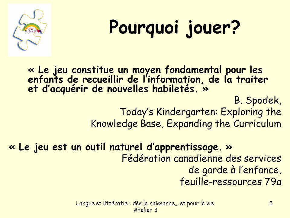 Langue et littératie : dès la naissance… et pour la vie Atelier 3 3 Pourquoi jouer.