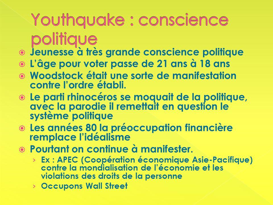 Jeunesse à très grande conscience politique Lâge pour voter passe de 21 ans à 18 ans Woodstock était une sorte de manifestation contre lordre établi.