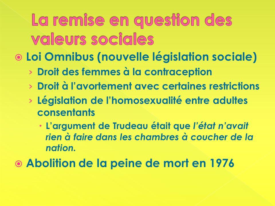 Loi Omnibus (nouvelle législation sociale) Droit des femmes à la contraception Droit à lavortement avec certaines restrictions Législation de lhomosexualité entre adultes consentants Largument de Trudeau était que létat navait rien à faire dans les chambres à coucher de la nation.