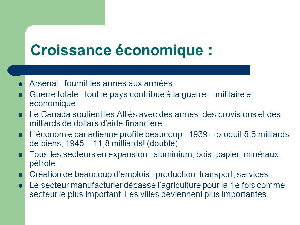 Croissance économique : Arsenal : fournit les armes aux armées.