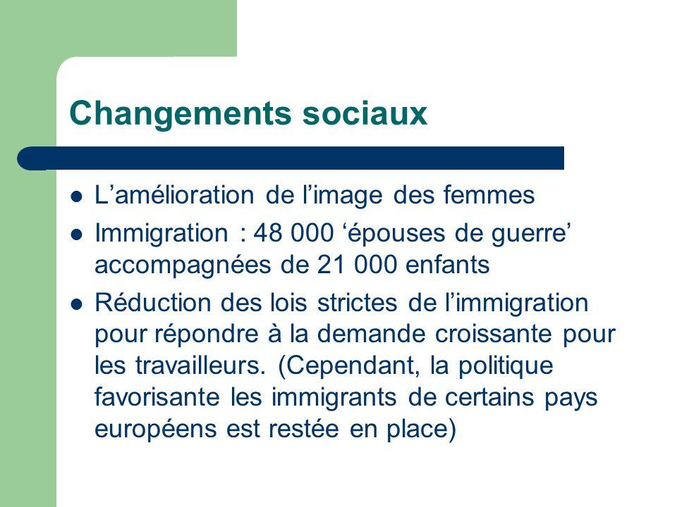 Changements sociaux Lamélioration de limage des femmes Immigration : 48 000 épouses de guerre accompagnées de 21 000 enfants Réduction des lois strictes de limmigration pour répondre à la demande croissante pour les travailleurs.