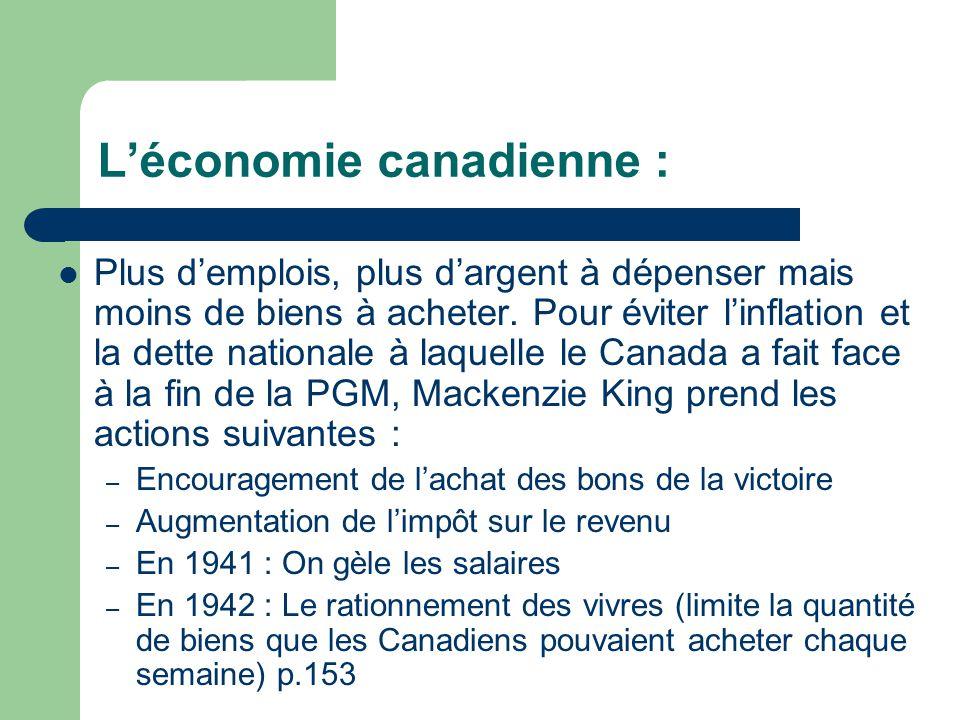 Léconomie canadienne : Plus demplois, plus dargent à dépenser mais moins de biens à acheter.
