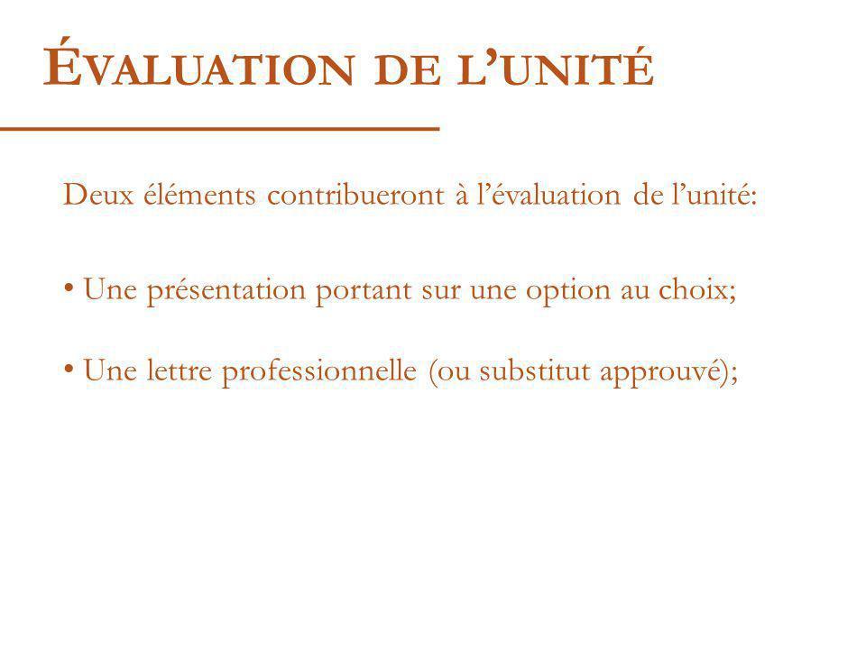 É VALUATION DE L UNITÉ Deux éléments contribueront à lévaluation de lunité: Une présentation portant sur une option au choix; Une lettre professionnelle (ou substitut approuvé);
