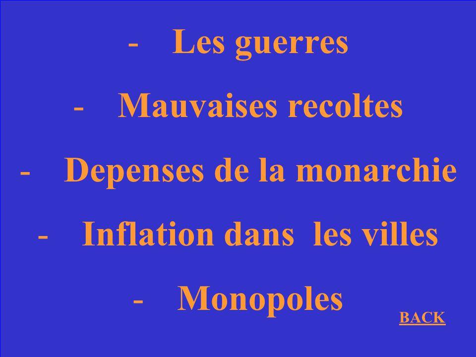 Nommez 2 causes economiques de la Revolution