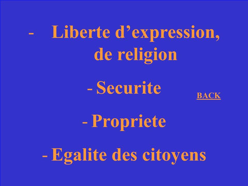 Nommez 3 droits garantis par la Declaration des droits de lhomme