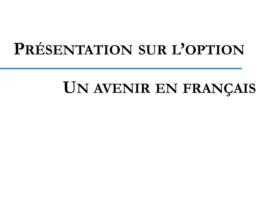 P RÉSENTATION SUR L OPTION U N AVENIR EN FRANÇAIS