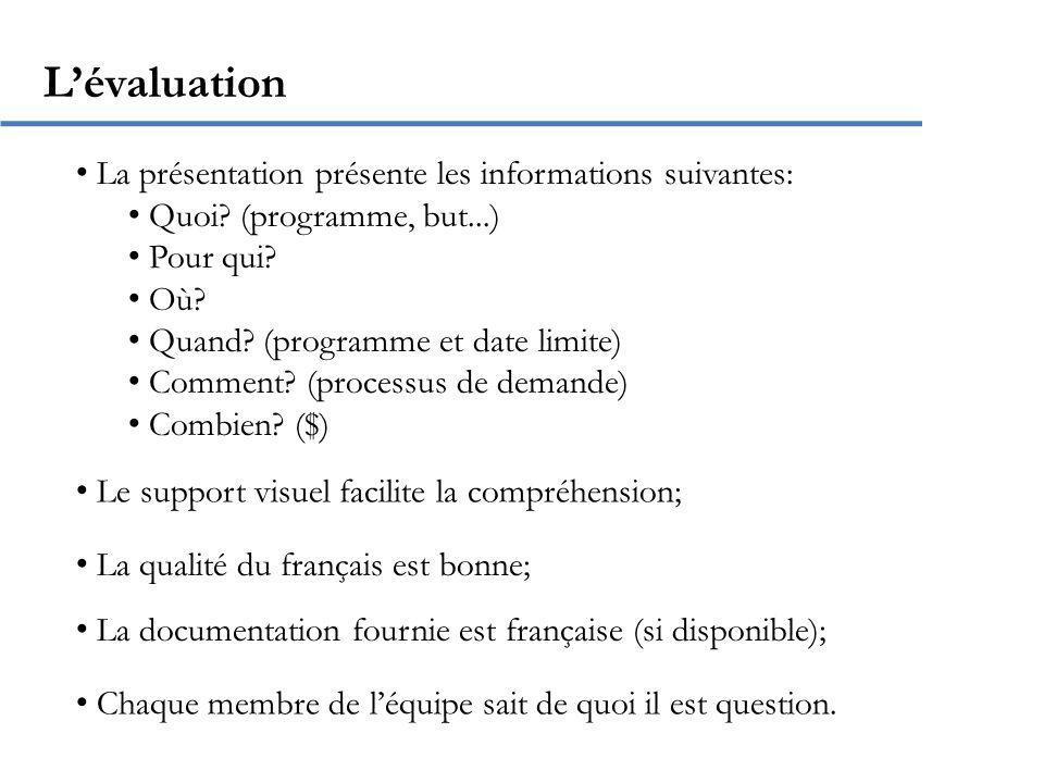 Quelques conseils pour PowerPoint Utilisez une taille dau moins 22; Nécrivez pas de longues phrases; Ne mettez pas plus de 5 éléments (points) par diapositive; Utilisez des couleurs faciles à voir.