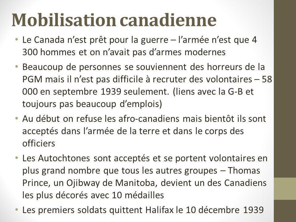 Mobilisation canadienne Le Canada nest prêt pour la guerre – larmée nest que 4 300 hommes et on navait pas darmes modernes Beaucoup de personnes se so