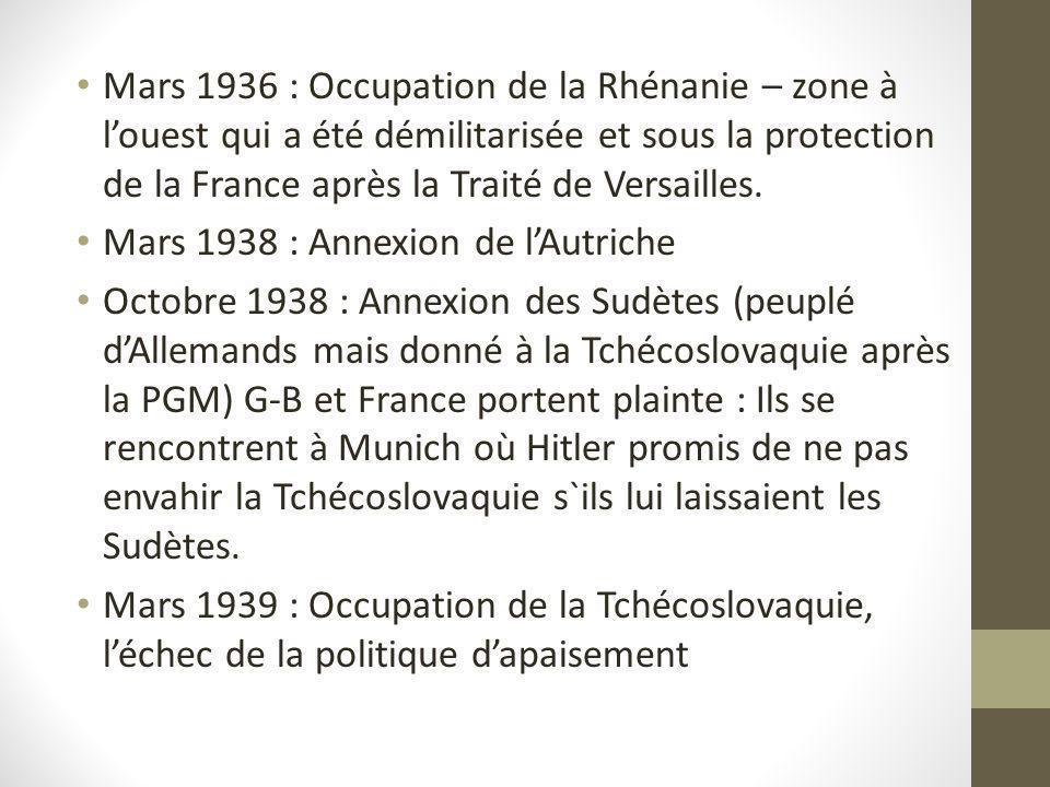 Mars 1936 : Occupation de la Rhénanie – zone à louest qui a été démilitarisée et sous la protection de la France après la Traité de Versailles. Mars 1