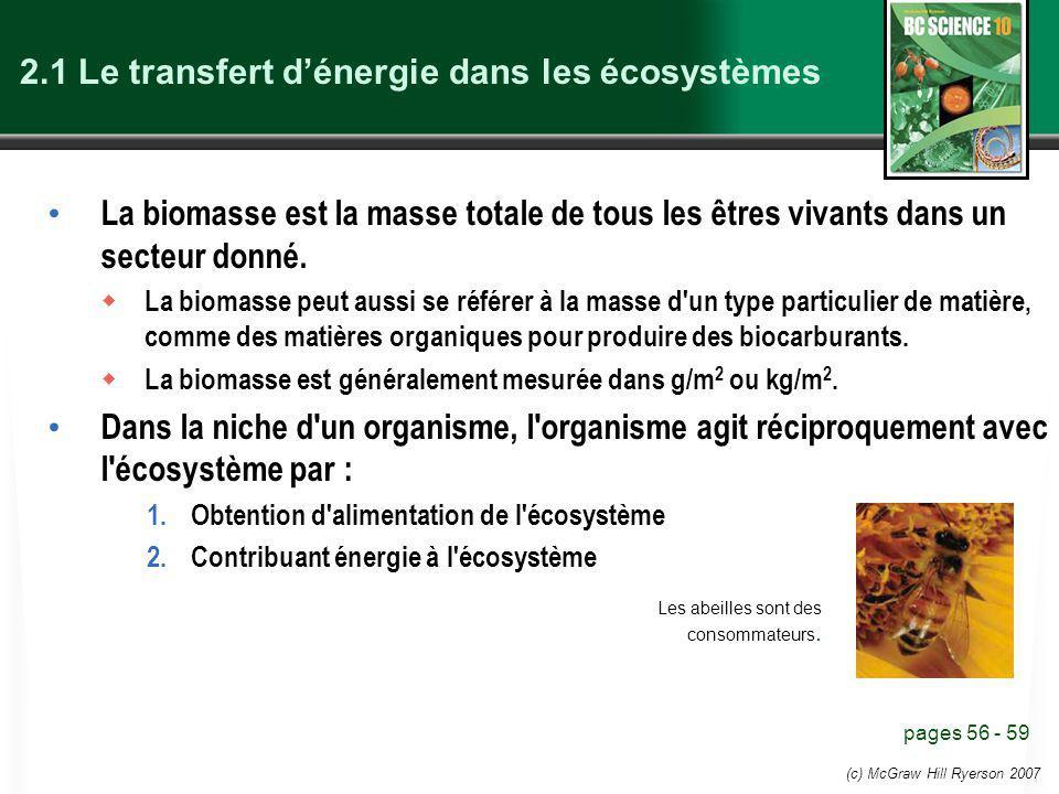 (c) McGraw Hill Ryerson 2007 2.1 Le transfert dénergie dans les écosystèmes La biomasse est la masse totale de tous les êtres vivants dans un secteur