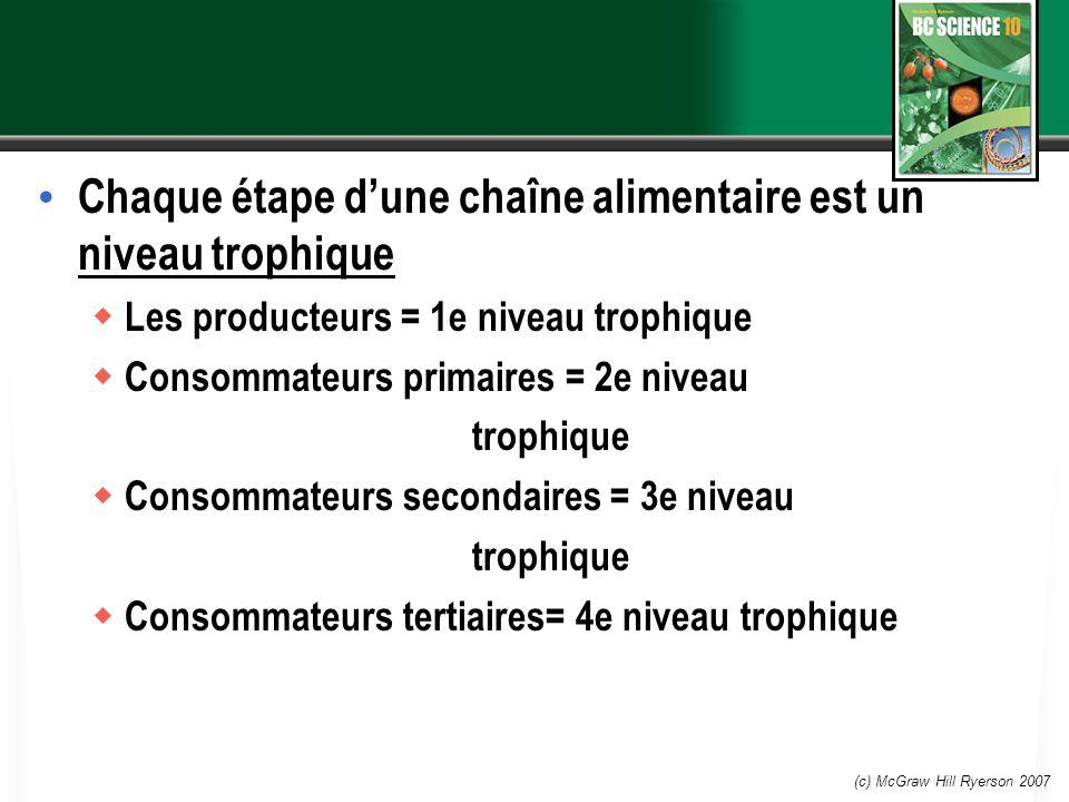 (c) McGraw Hill Ryerson 2007 Chaque étape dune chaîne alimentaire est un niveau trophique Les producteurs = 1e niveau trophique Consommateurs primaire