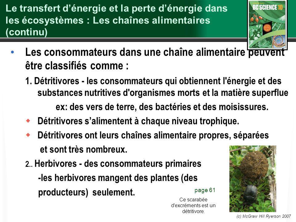 (c) McGraw Hill Ryerson 2007 Le transfert dénergie et la perte dénergie dans les écosystèmes : Les chaînes alimentaires (continu) Les consommateurs da