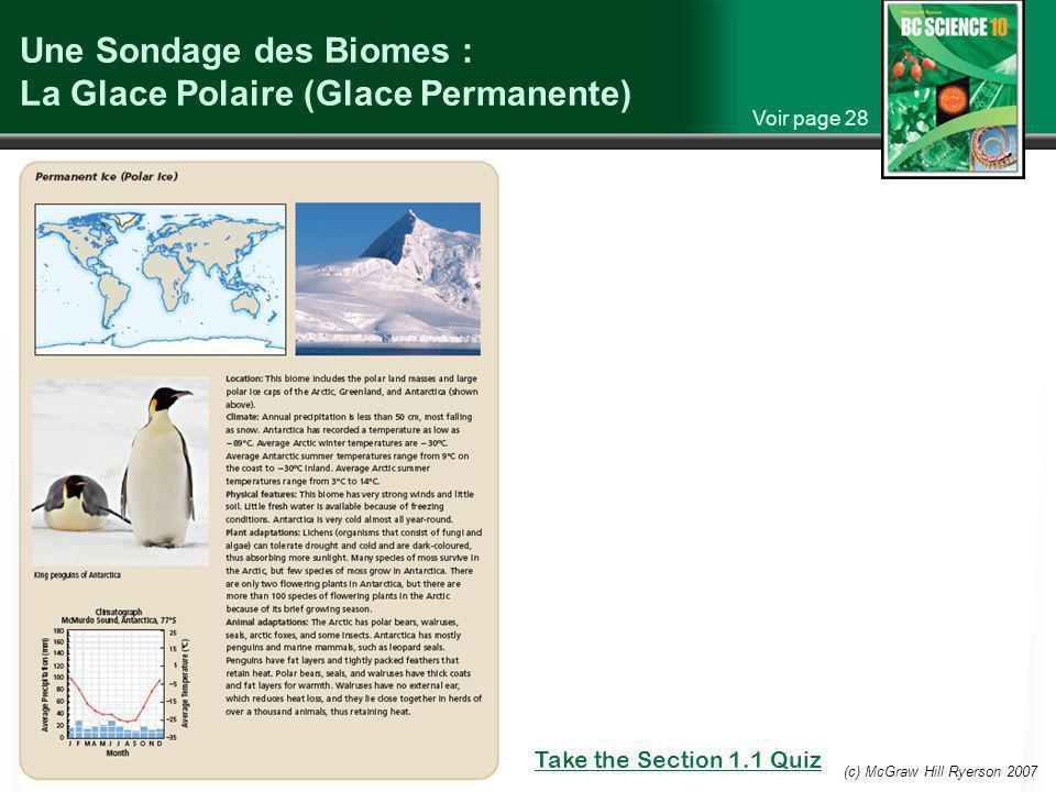 (c) McGraw Hill Ryerson 2007 Une Sondage des Biomes : La Glace Polaire (Glace Permanente) Voir page 28 Take the Section 1.1 Quiz