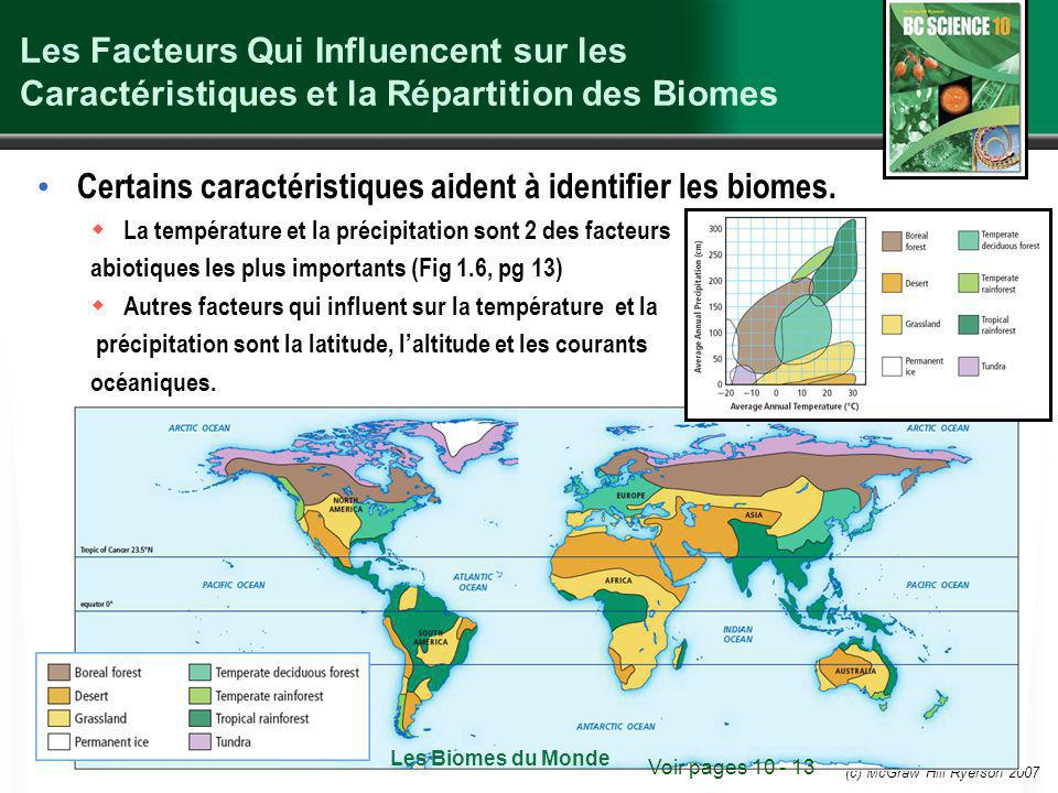 (c) McGraw Hill Ryerson 2007 Les Facteurs Qui Influencent sur les Caractéristiques et la Répartition des Biomes Certains caractéristiques aident à identifier les biomes.