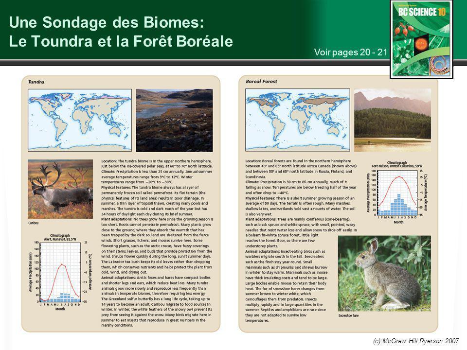 (c) McGraw Hill Ryerson 2007 Une Sondage des Biomes: Le Toundra et la Forêt Boréale Voir pages 20 - 21