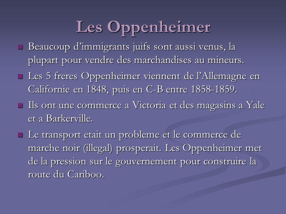 Les Oppenheimer Beaucoup dimmigrants juifs sont aussi venus, la plupart pour vendre des marchandises au mineurs. Beaucoup dimmigrants juifs sont aussi