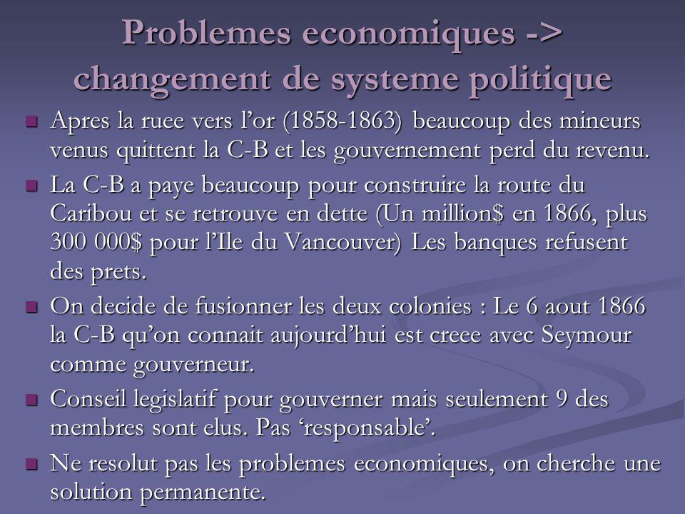 Problemes economiques -> changement de systeme politique Apres la ruee vers lor (1858-1863) beaucoup des mineurs venus quittent la C-B et les gouverne