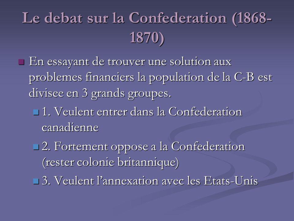 Pro-Confederation Proposent que le Canada prennent les dettes de la C-B Proposent que le Canada prennent les dettes de la C-B Veulent que le gouvernement canadien construit un chemin de fer pour relier la C- B avec le reste du pays.
