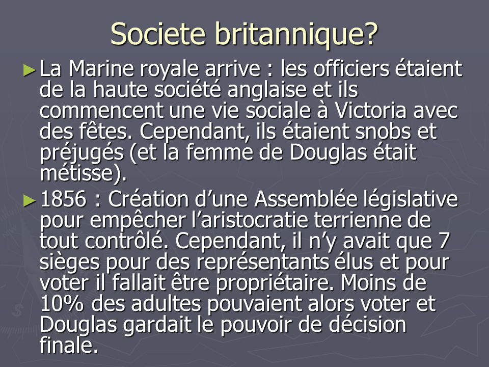 Societe britannique.