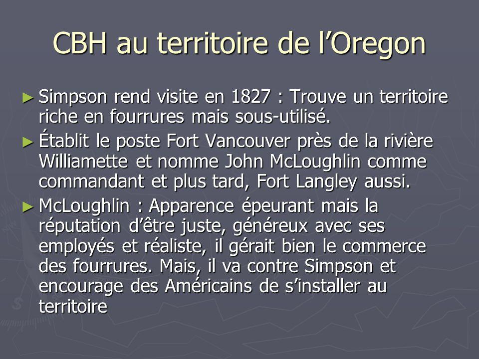 CBH au territoire de lOregon Simpson rend visite en 1827 : Trouve un territoire riche en fourrures mais sous-utilisé.