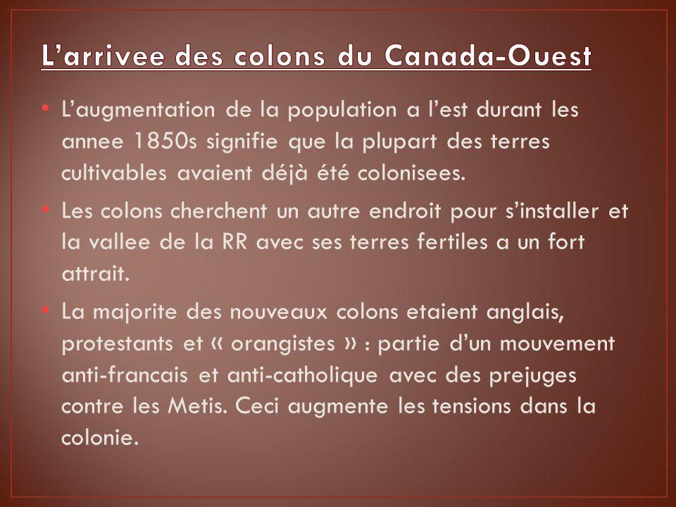 Laugmentation de la population a lest durant les annee 1850s signifie que la plupart des terres cultivables avaient déjà été colonisees.