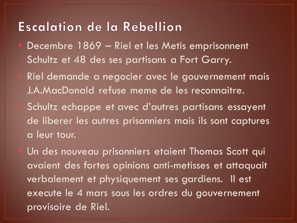Decembre 1869 – Riel et les Metis emprisonnent Schultz et 48 des ses partisans a Fort Garry.