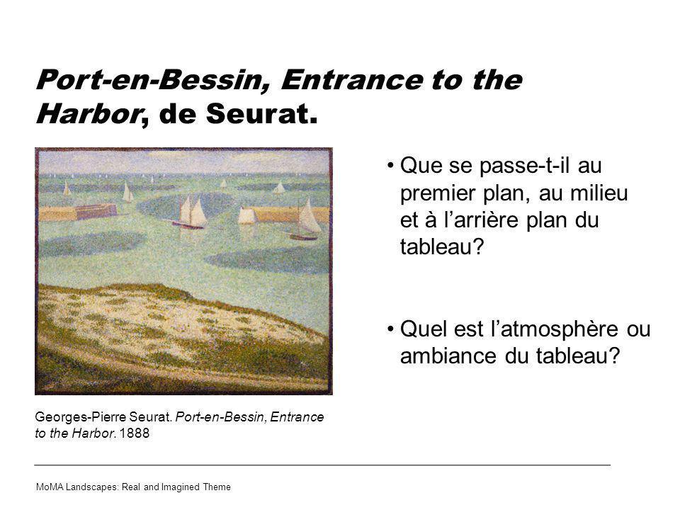 Port-en-Bessin, Entrance to the Harbor, de Seurat. Que se passe-t-il au premier plan, au milieu et à larrière plan du tableau? Quel est latmosphère ou