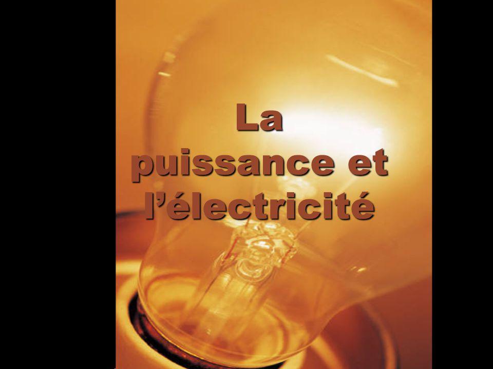 Calcule la puissance électrique Lénergie par unité de temps Mesuré en watts Puissance (en watts) = tension intensité P = VI