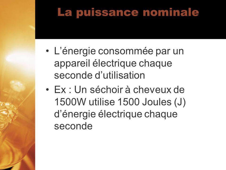 La puissance nominale Lénergie consommée par un appareil électrique chaque seconde dutilisation Ex : Un séchoir à cheveux de 1500W utilise 1500 Joules