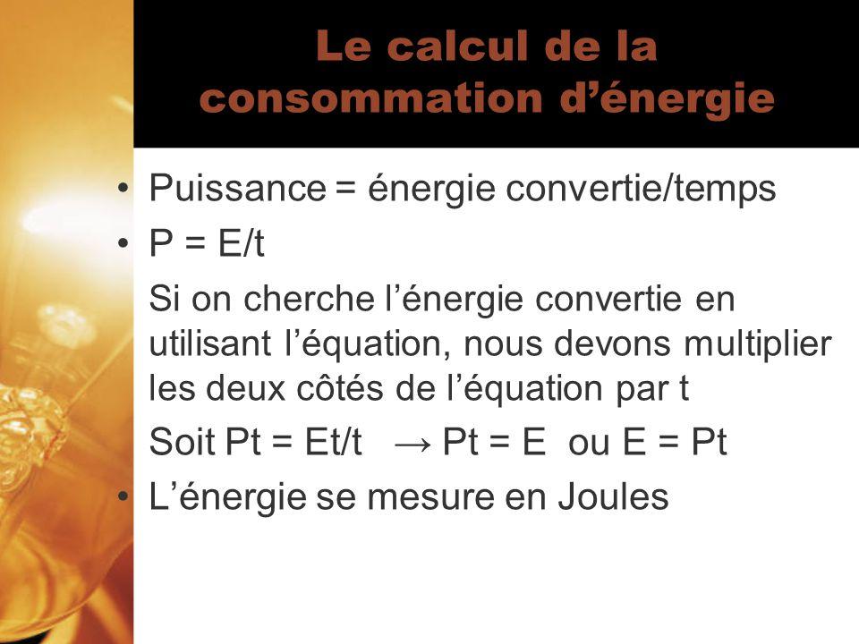 Le calcul de la consommation dénergie Puissance = énergie convertie/temps P = E/t Si on cherche lénergie convertie en utilisant léquation, nous devons