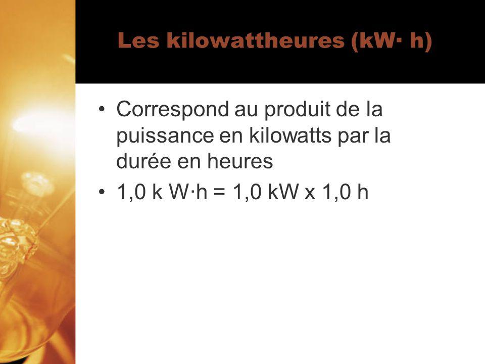 Les kilowattheures (kW· h) Correspond au produit de la puissance en kilowatts par la durée en heures 1,0 k W·h = 1,0 kW x 1,0 h