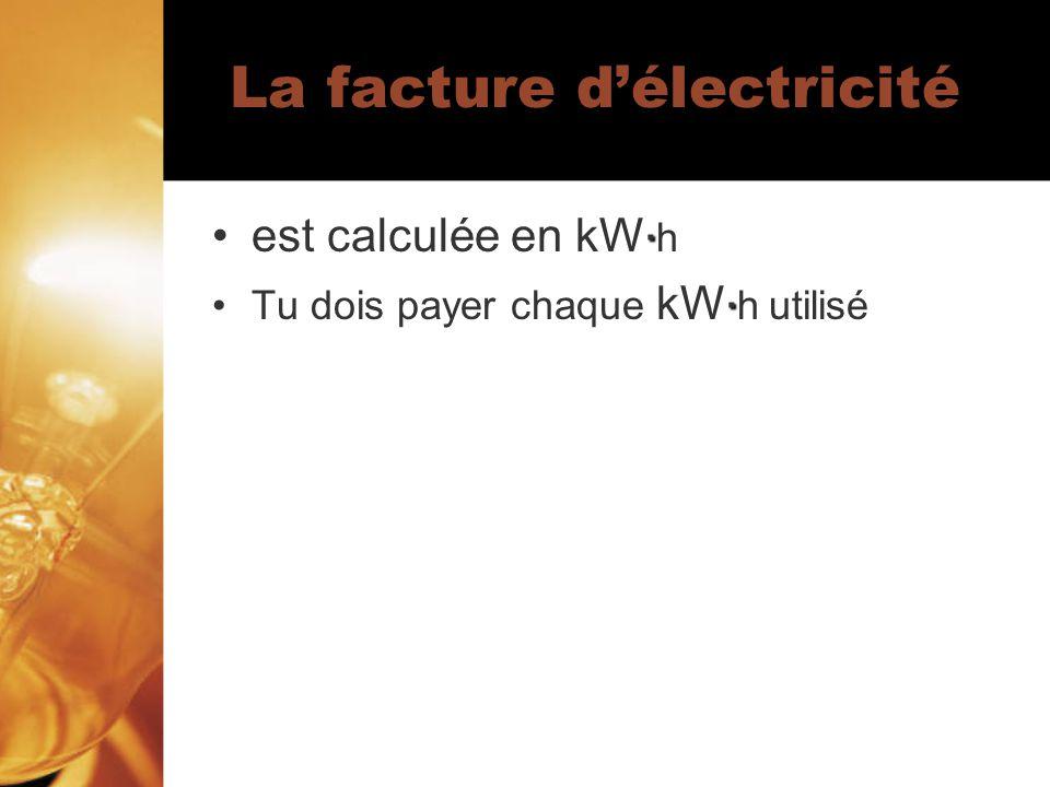 · · Vous devez payer 0,11$ pour chaque kW· h dénergie que ta famille utilise.