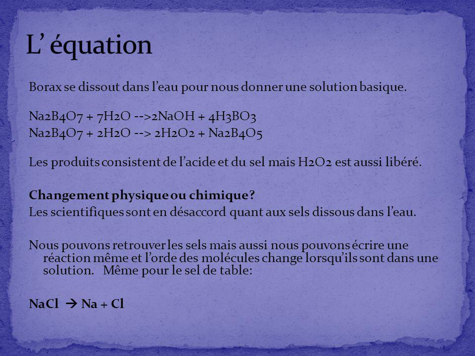 Borax se dissout dans leau pour nous donner une solution basique. Na2B4O7 + 7H2O -->2NaOH + 4H3BO3 Na2B4O7 + 2H2O --> 2H2O2 + Na2B4O5 Les produits con