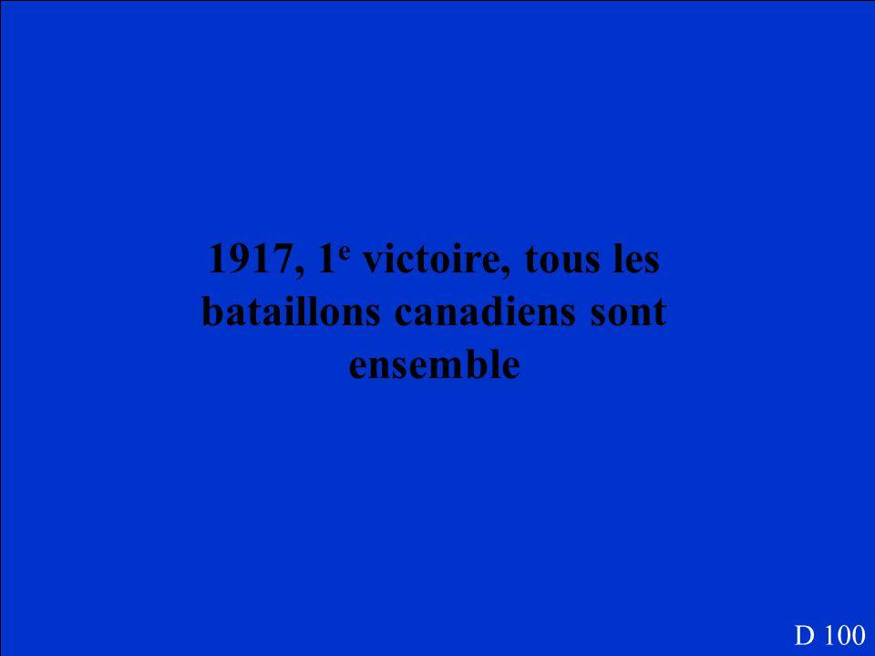 Quelle année était Vimy Ridge, pourquoi est-ce que ceci est important pour les Canadiens? D 100
