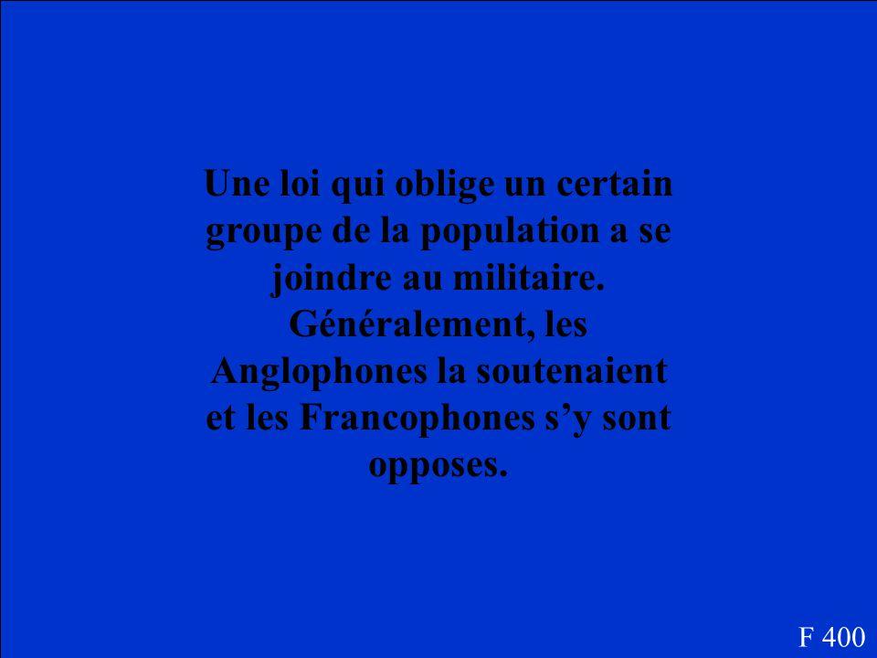 `C`est quoi la conscription, et pourquoi est-ce qu`elle est controverse…. Et qui le support, et qui ne le support pas? F 400