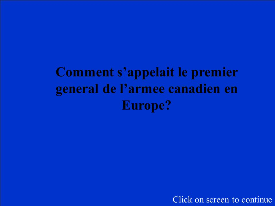 La Categorie du Jeopardy final est: Le Canada dans la PGM Faites un pari: Click on screen to begin