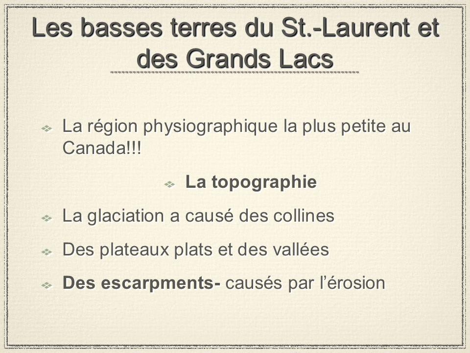 Les basses terres du St.-Laurent et des Grands Lacs La région physiographique la plus petite au Canada!!.