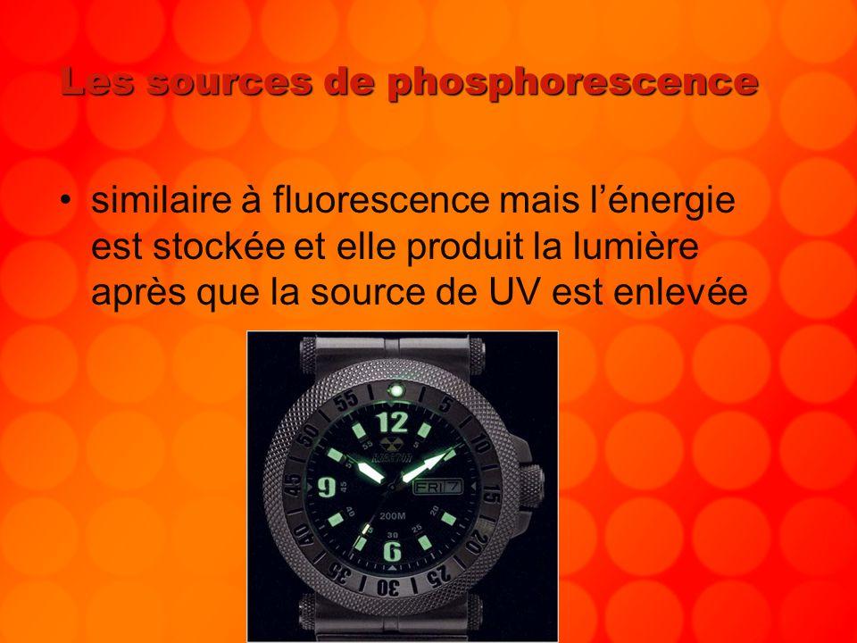 Les sources de phosphorescence similaire à fluorescence mais lénergie est stockée et elle produit la lumière après que la source de UV est enlevée