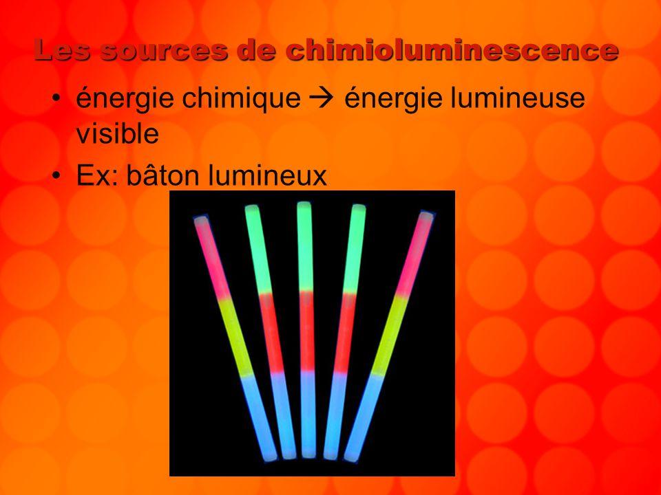 Les sources de chimioluminescence énergie chimique énergie lumineuse visible Ex: bâton lumineux