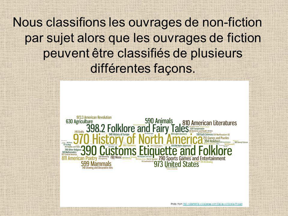 Nous classifions les ouvrages de non-fiction par sujet alors que les ouvrages de fiction peuvent être classifiés de plusieurs différentes façons. Phot