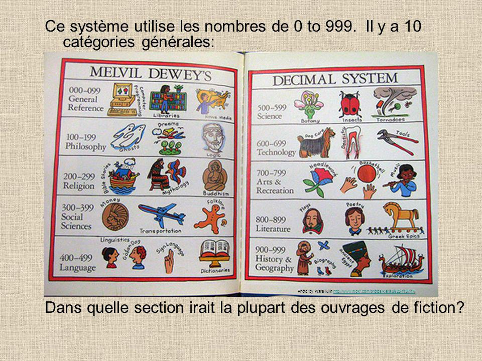 Ce système utilise les nombres de 0 to 999. Il y a 10 catégories générales: 000s – computer science, information and general works 100s – philosophy a