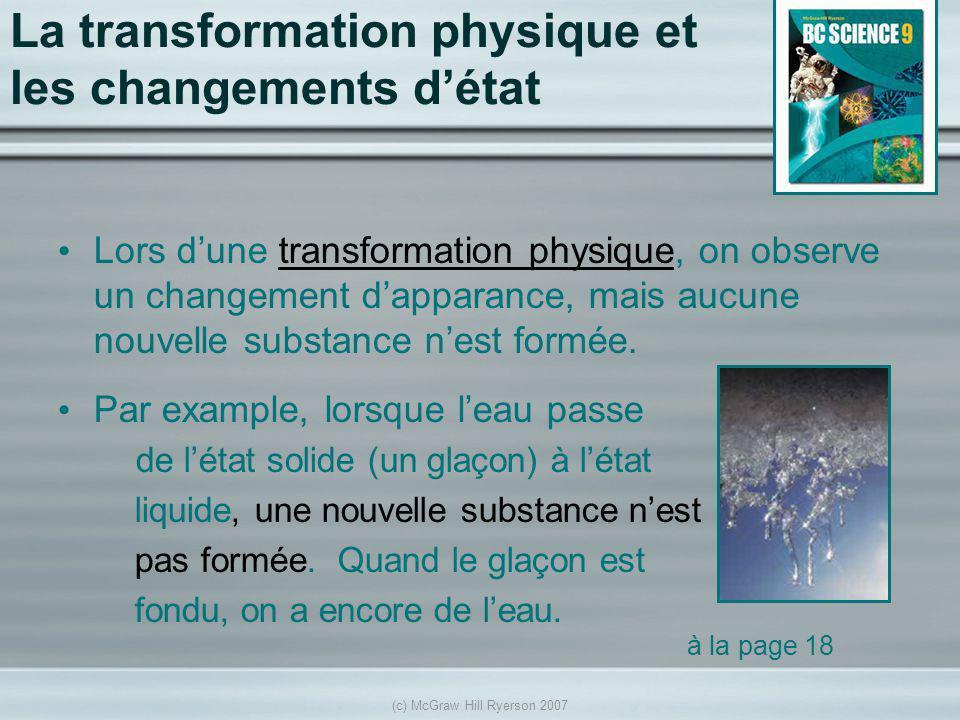 (c) McGraw Hill Ryerson 2007 La transformation physique et les changements détat Lors dune transformation physique, on observe un changement dapparanc