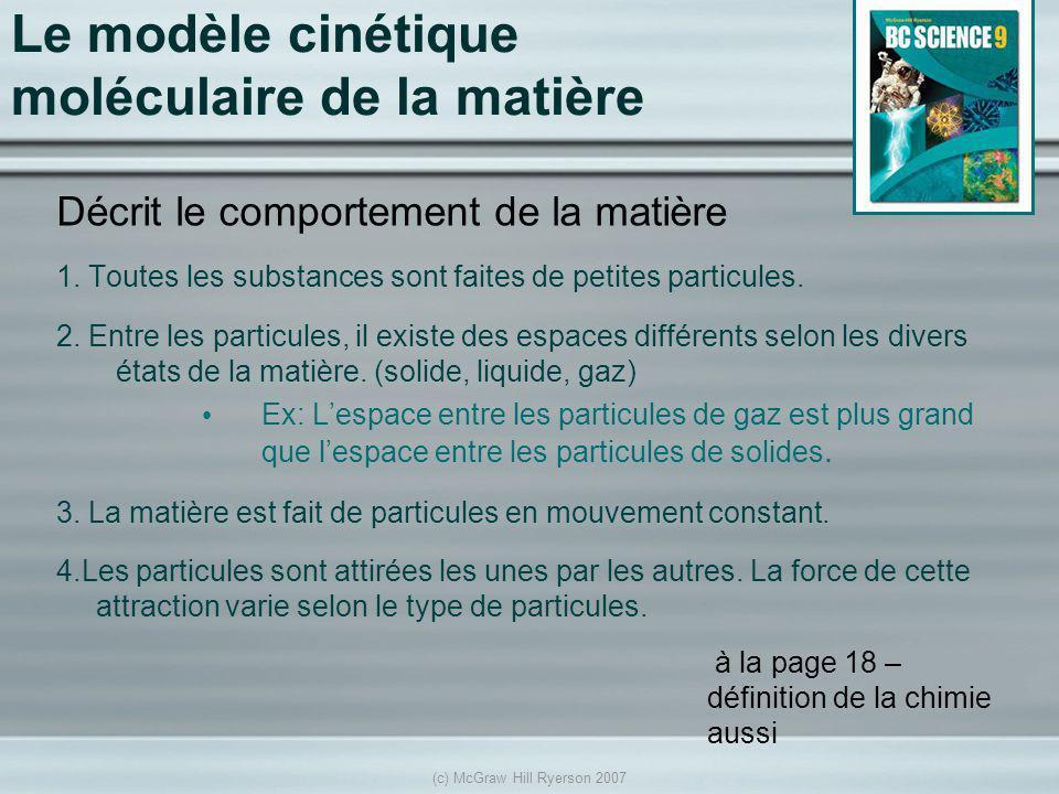 (c) McGraw Hill Ryerson 2007 Le modèle cinétique moléculaire de la matière Décrit le comportement de la matière 1. Toutes les substances sont faites d